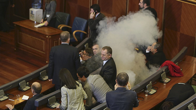Kosovo's Assembly has been effectively paralyzed for a year since the international agreements were signed, with opposition deputies regularly releasing tear gas in the chamber.