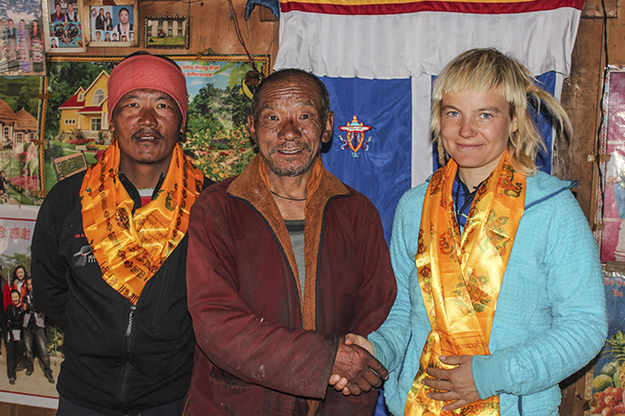 At the end of her trip, locals in Na village presented Uta with a scarf or 'khata,' which symbolizes purity and compassion and is traditionally presented to people when they have climbed a mountain in Nepal. Photo courtesy of Uta Ibrahimi.