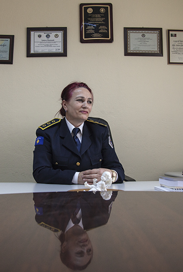Tahire Haxholli heads Kosovo Police's Domestic Violence Investigation Units, whose officers are specially trained to handle domestic violence cases. Photo: Majlinda Hoxha / K2.0.