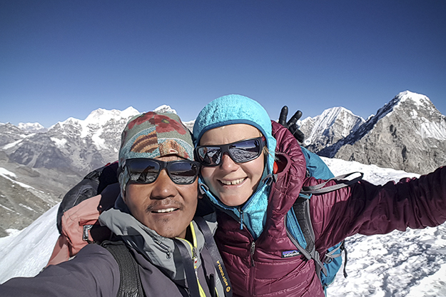 Uta Ibrahimi — pictured here with her Himalayan guide Tendi Sherpa — scaled peaks approaching 6,000 above sea level on her recent trip to Nepal. Photo courtesy of Uta Ibrahimi.